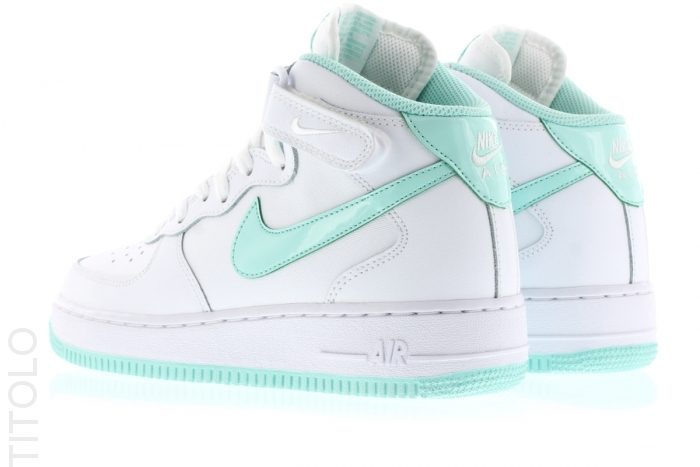best sneakers 85222 d2f8b NIKE AIR FORCE 1 MID FEMME BLANC ET GREEN 518218-107 White Artisan Teal