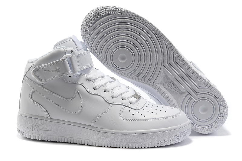 Botte Nike Air Force 1 Hi All White Shoes,Chaussure AF1 Mid'07 Tous